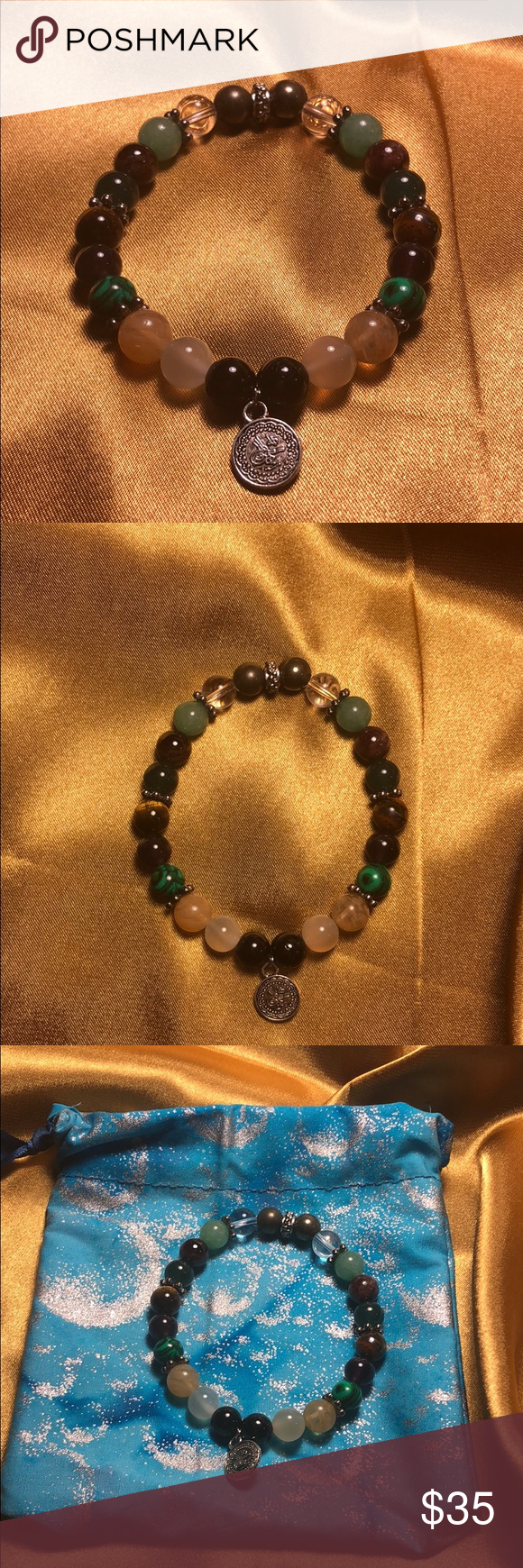 Photo of Bracelet for manifesting wealth with handmade bag Black tourmaline protection. M…