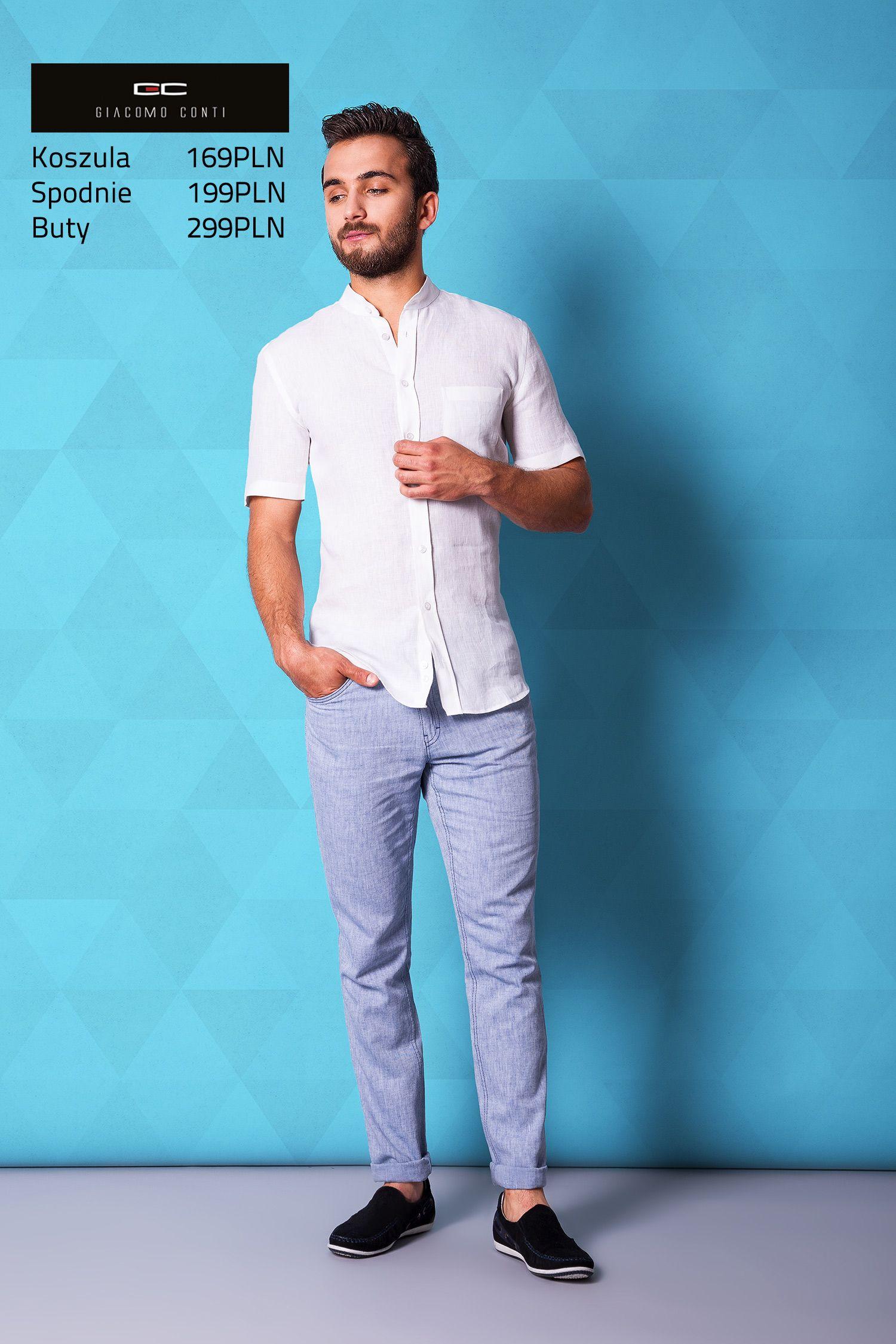 Stylizacja casualowa Giacomo Conti: biała lniana koszula na  onSSv