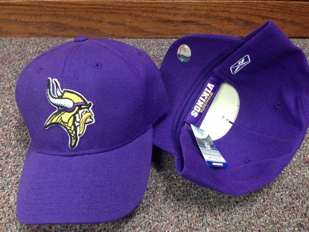 4583eb74f NWT MN Vikings Reebok Adjustable NFL Ball Cap Hat Purple Gold