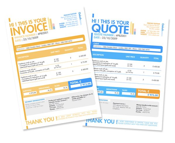 Invoice \ Quote Design by Pascale Dufour, via Behance Books - essential invoice elements