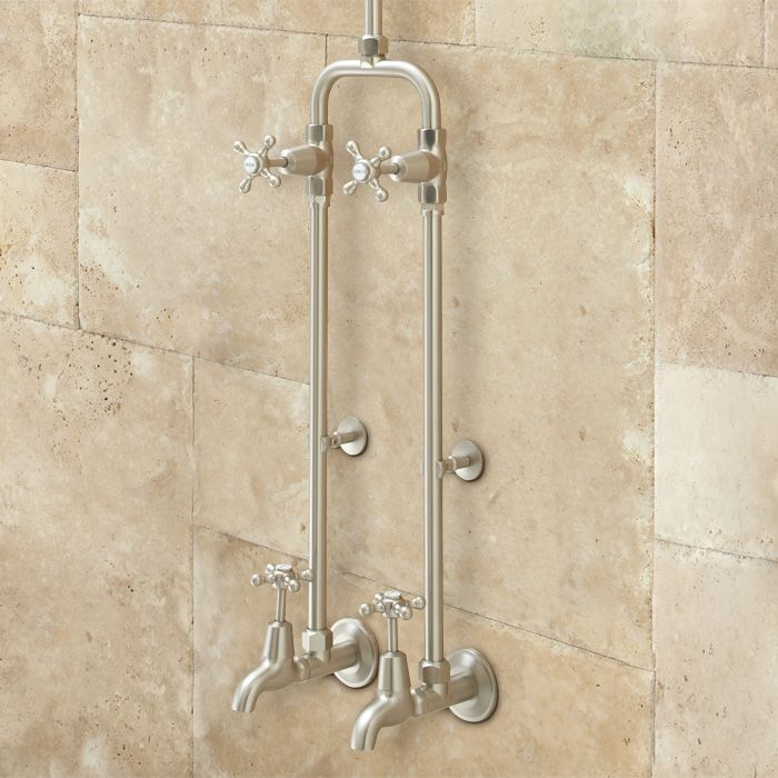 Kalama Exposed Pipe Shower Set with Rainfall Showerhead and Dual ...