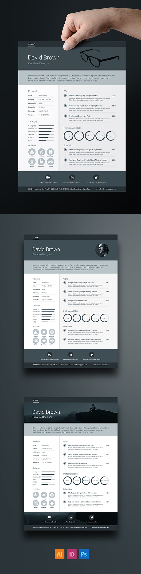 Free Material Resume template - Adobe Indesign, Illustrator and ...
