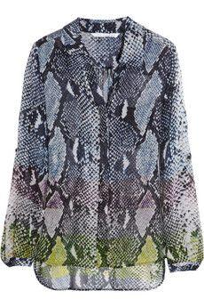 83ac35df697c33 Diane von Furstenberg Lorelei snake-print silk-chiffon shirt