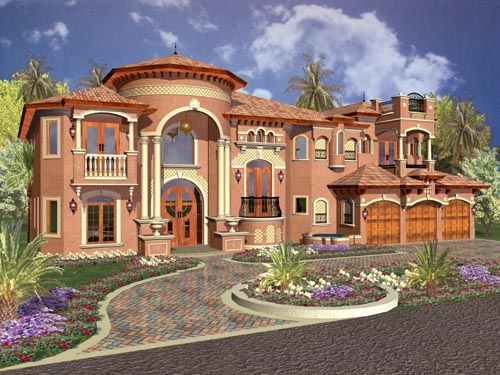 Florida Style House Plans   6679 Square Foot Home  2 Story  5 Bedroom and 6  3 Bath  3 Garage Stalls by Monster House Plans   Plan. Florida Style House Plans   6679 Square Foot Home   2 Story  5