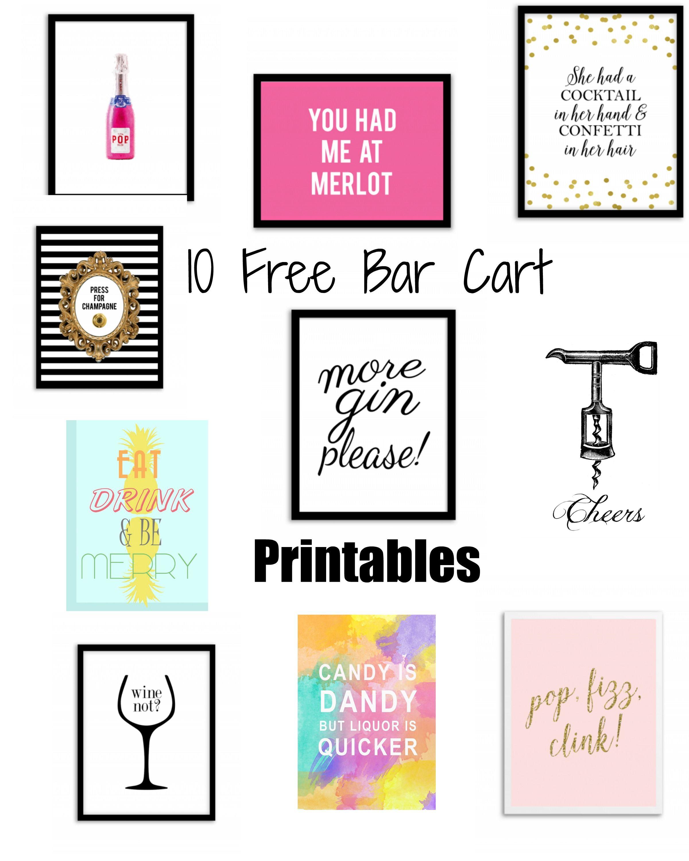 Bar Cart Accessories and 10 Free Bar Cart Printables | Pinterest ...