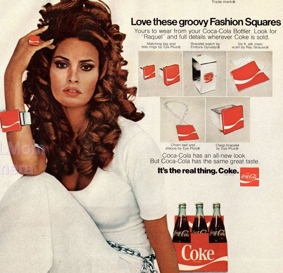 1970 Coca-Cola Ad with Raquel Welsh // 1970's Coke