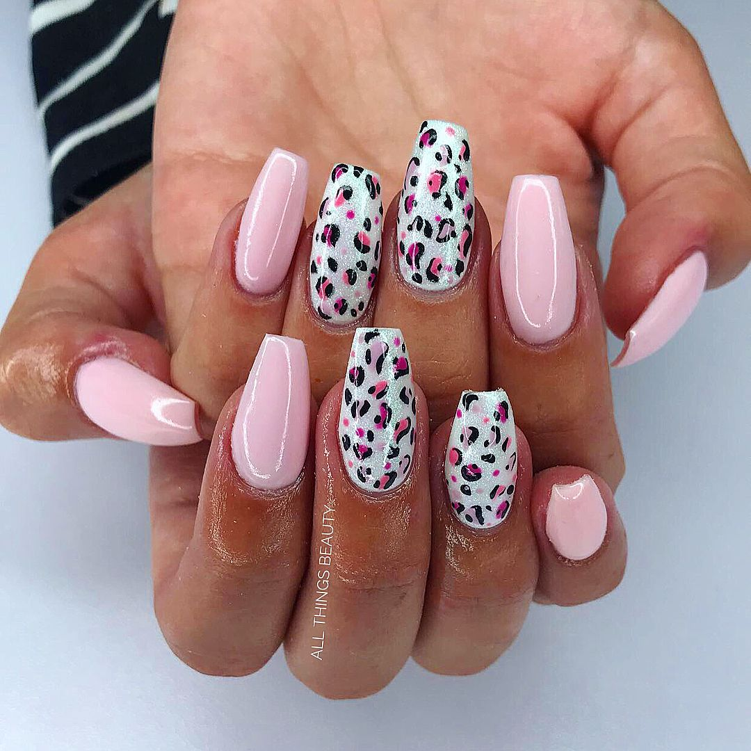 Chrome Baby Pink Coffin Nails With Two Leopard Print Nails Leopard Print Nails Trendy Nails Cheetah Print Nails