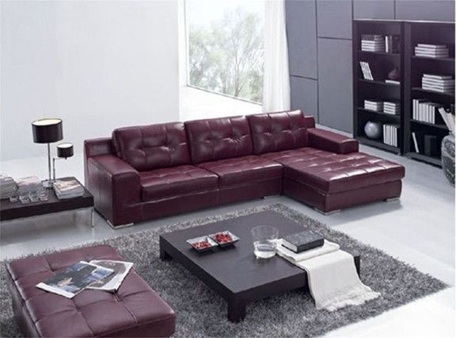 Dark maroon leather l shape sectional sofa set with black for Living room ideas with burgundy sofa