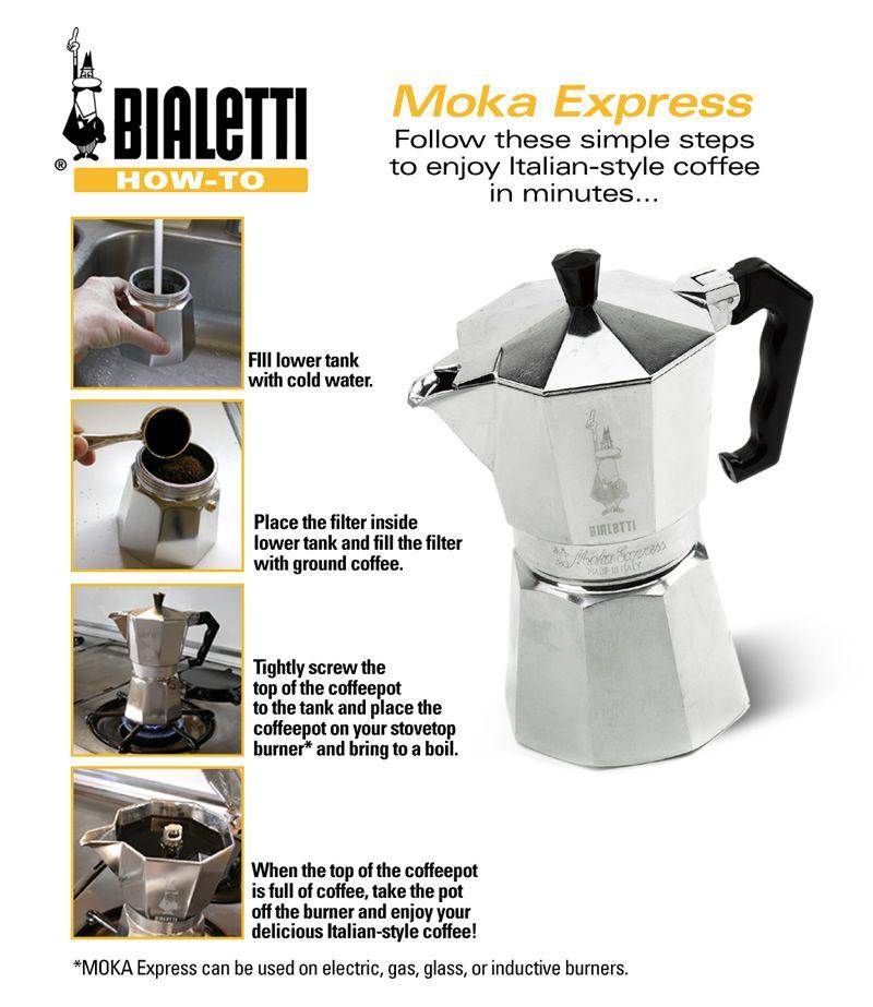 Bialetti 3 Cup Moka Pot Percolator Coffee Italian Coffee Maker Espresso Drinks