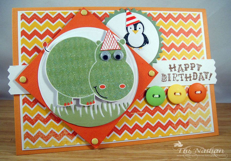 kaisercraft party animals card | have used the Party Animals paper pad and stamps by Kaisercraft!