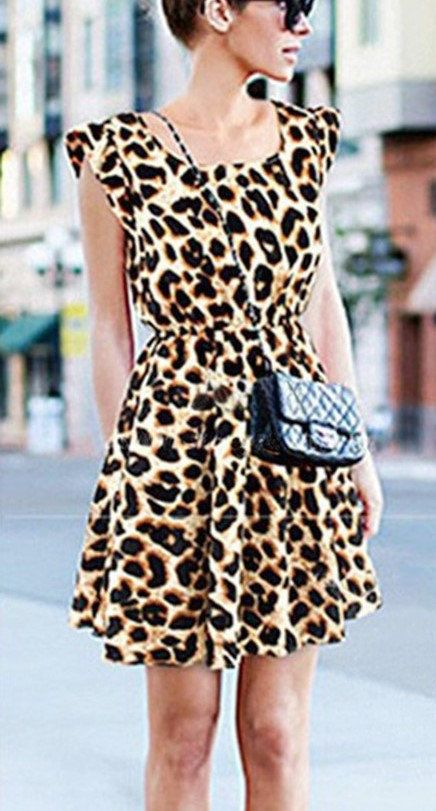 Stylish Summer Dress O-Neck Brown Leopard Print by HenleyMilford