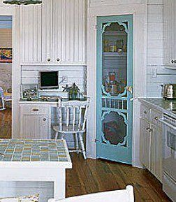 Why didn't I think of this!?! you could build a corner set of triangle shelves, frame it out and, voila! Cool pantry door