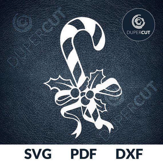 Svg Pdf Dxf Cut File Paper Cutting Template Snowman Candy Cane