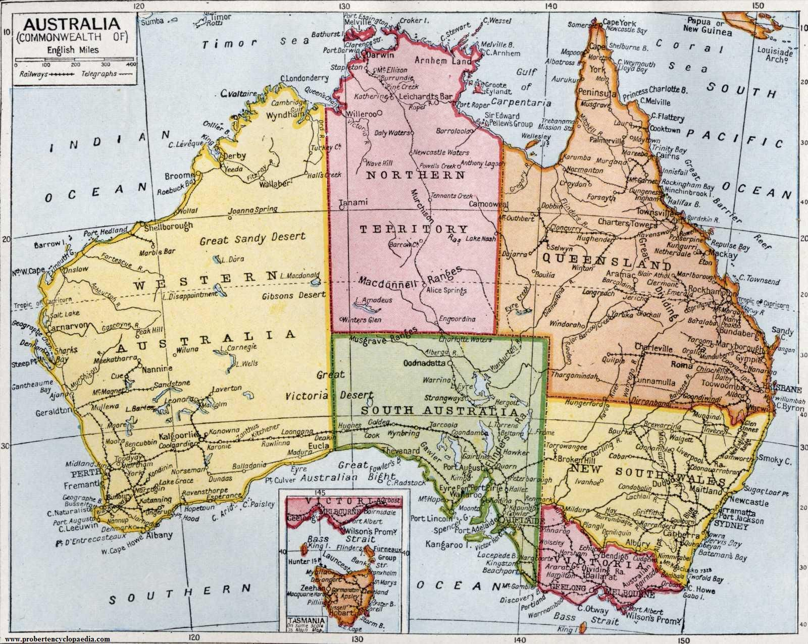 Detailed Map Australia detailed road and administrative old map of
