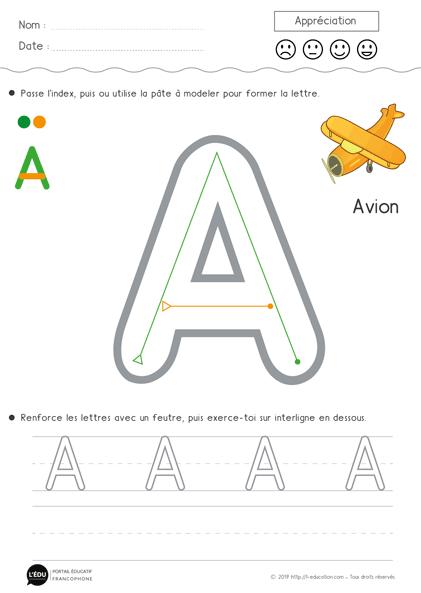 la lettre a Superbe support sur Apprendre à écrire la lettre A en capitale d  la lettre a