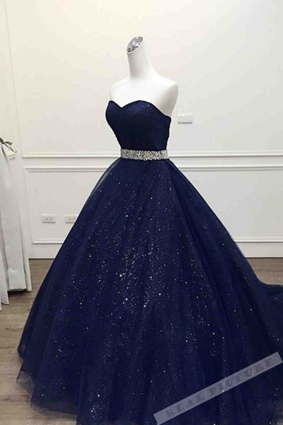 Dark Blue Tulle Prom Dress, Sweetheart Sequins Prom Dress, Floor-Length A -Line Prom Dress