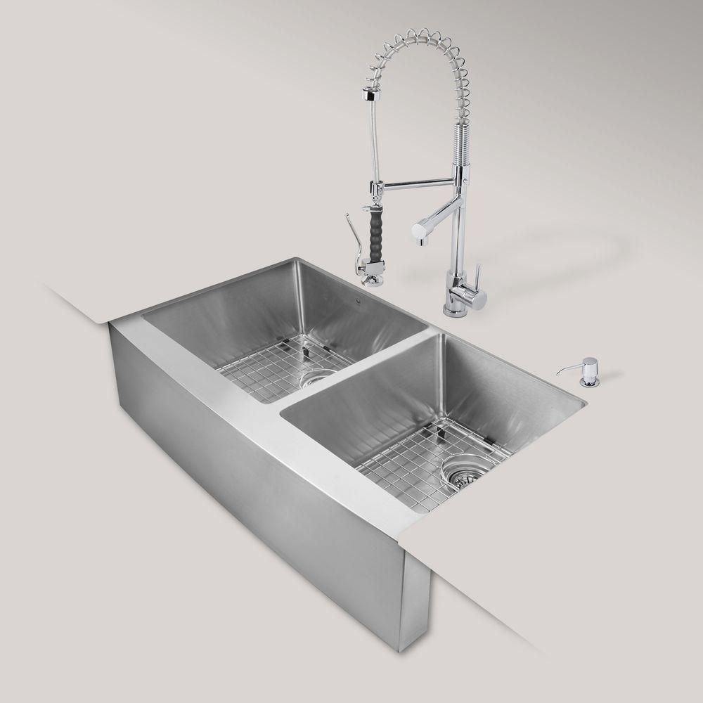 Stainless Steel All In One Farmhouse Double Bowl Kitchen Sink And