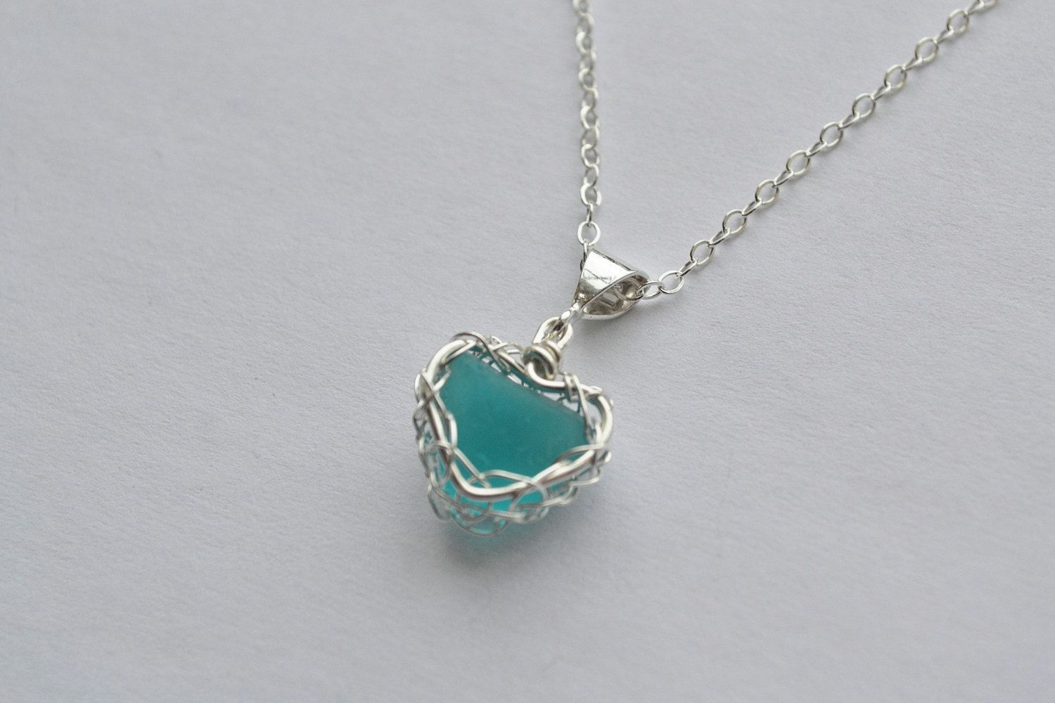 Aqua Genuine Sea Glass Hand Knitted Fine Silver Wire Heart Pendant ...