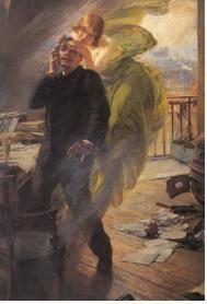 알버트 매그넌(Albert Maignan)- The Green Muse : 초록빛 뮤즈(예술에 영감을 준다는 여신)가 남자의 머리를 쥐고 있다. 이 뮤즈 또한 압생트의 화신으로 널려있는 원고들로 봤을 때 시인인 듯한 남자의 머리를 쥐고 미소짓고 있다. 남자는 황홀한 듯 하지만 조금 피폐한 모습이다. 아마도 압생트의 환각 작용을 말하고 있는 듯 하다.