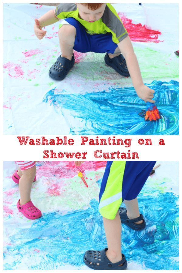 Painting On A Shower Curtain Is Fun Summer Art Activity For Preschoolers