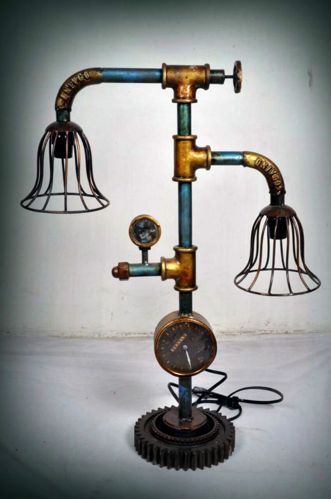 details zu steampunk tischlampe retro lampe pipe rohre deko vintage tischleuchte industrie. Black Bedroom Furniture Sets. Home Design Ideas