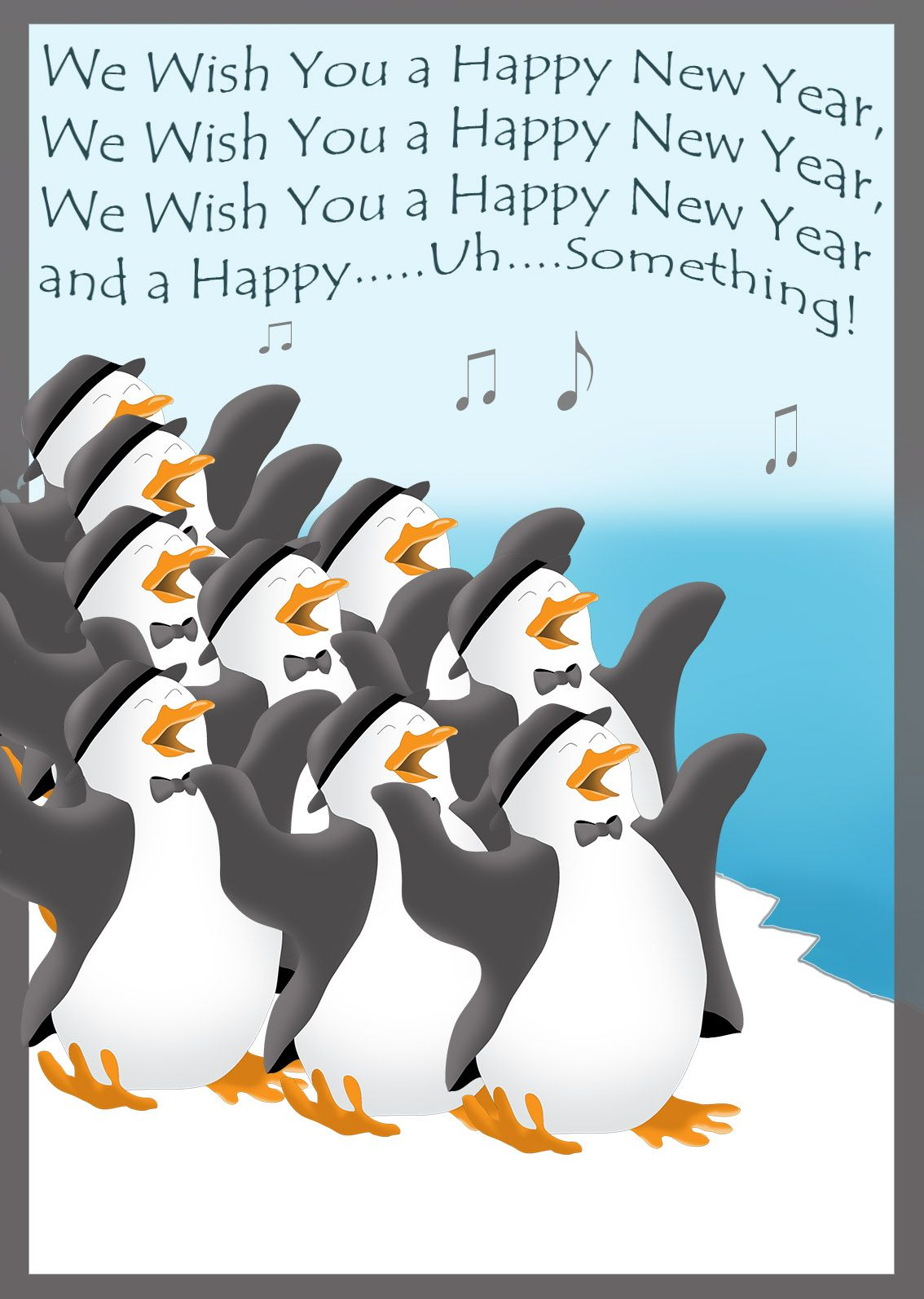 Funny New Year greeting with festively dressed penguins