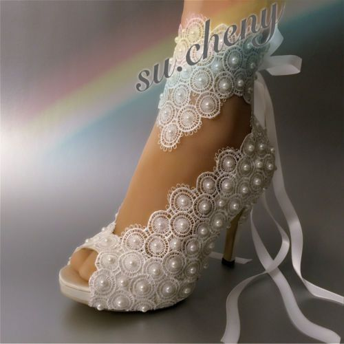 """su.cheny 1/"""" 2/"""" 3/"""" light ivory lace pearls silk satin Wedding shoes Bridal shoes"""