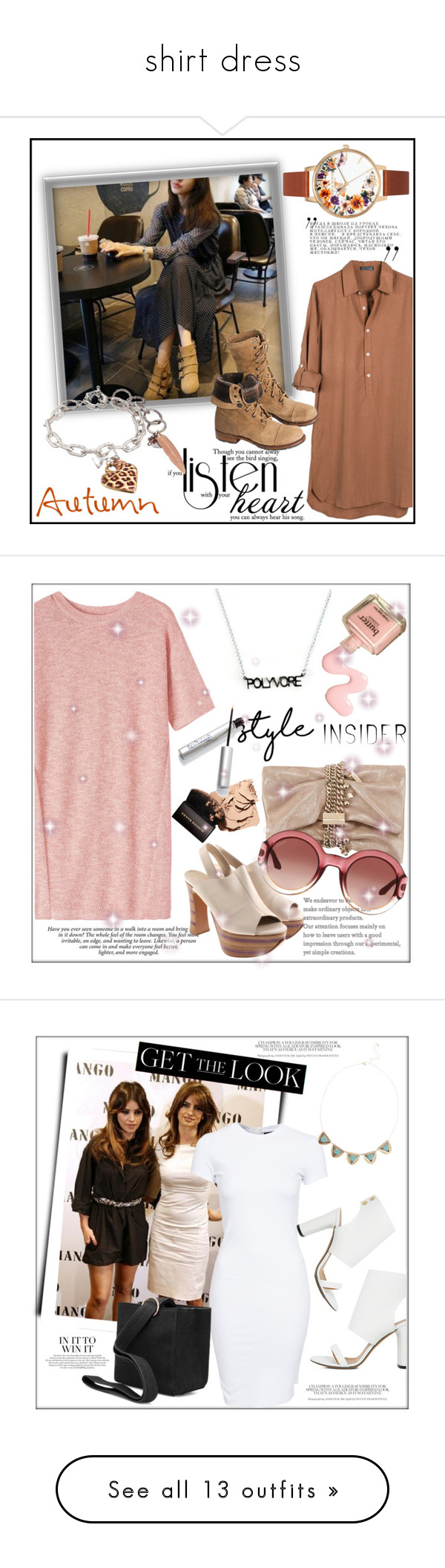 """""""shirt dress"""" by ainzme ❤ liked on Polyvore featuring United by Blue, Overland Sheepskin Co., Toast, Chloé, Jimmy Choo, Gucci, contestentry, styleinsider, IRO and SELECTED"""