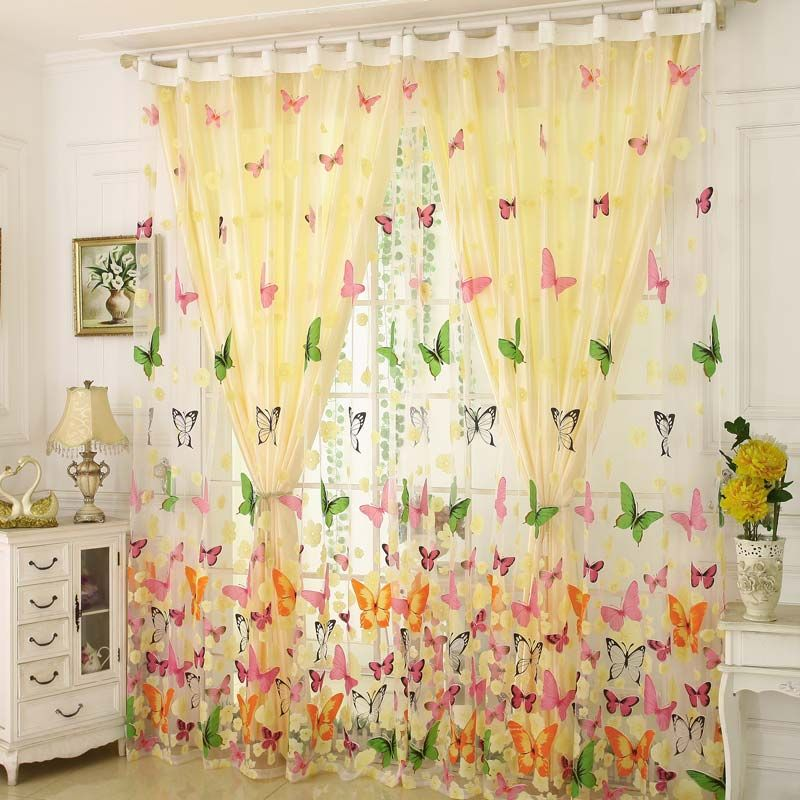 Rural Romantic Sheer Curtain Colorful Butterflies Printing Sheer Curtain Environmental Protected Breathable Fabric Curtains Sheer Curtain Curtain Designs