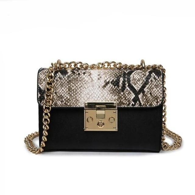 Snake Bags For Women Fashion Shoulder Bags Small Chain Messenger Crossbody  Bags Snake Leather Brand Designer Crossbody Flap Bag 4c79f35881c8d