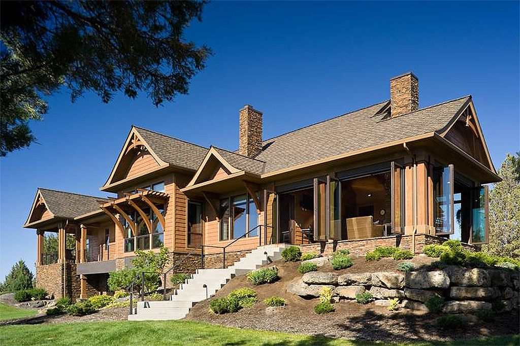 craftsman style houseplan architecture home exterior floorplan - Craftsman Ranch Home Exterior