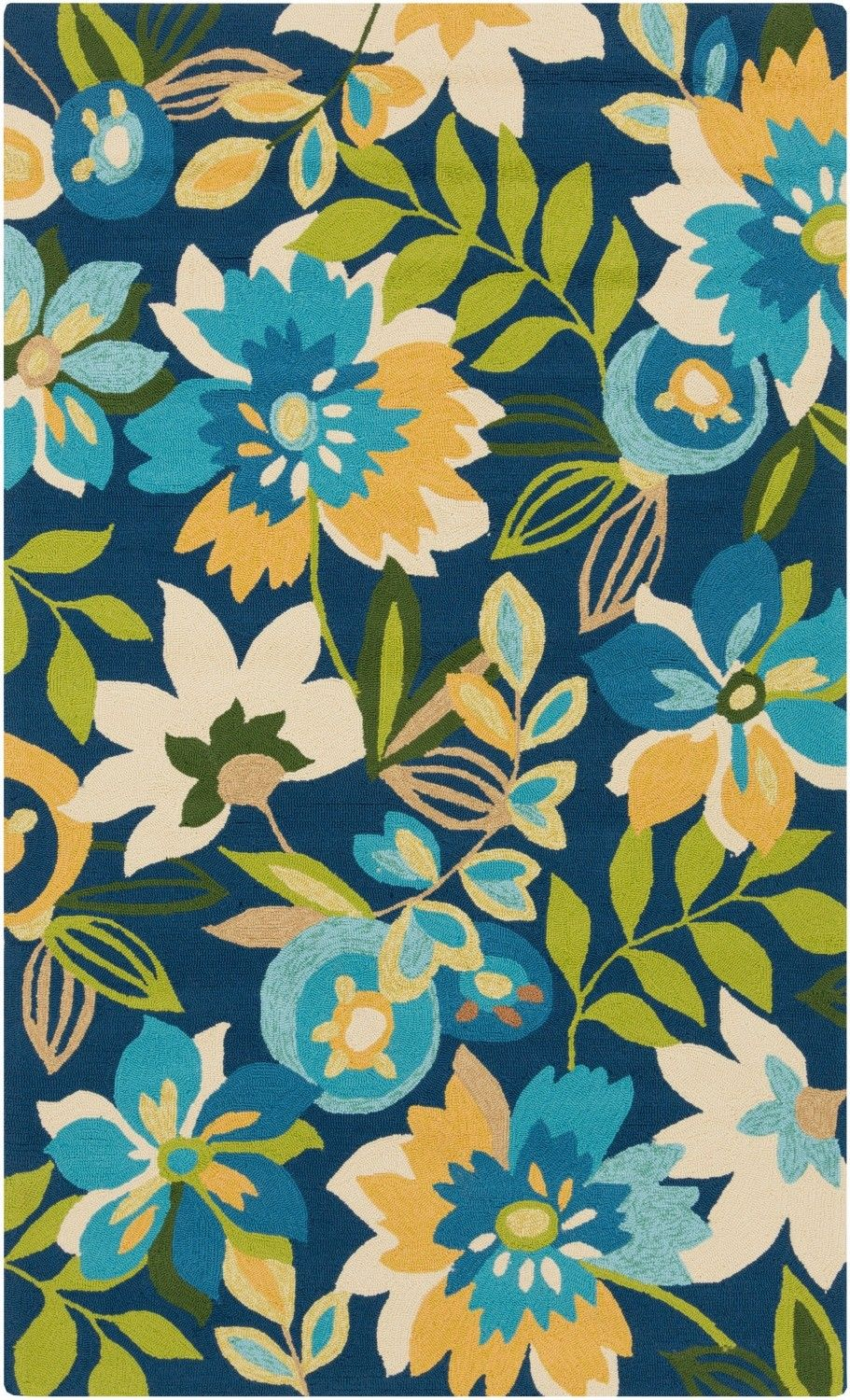 Tropical Garden Blue Area Rug