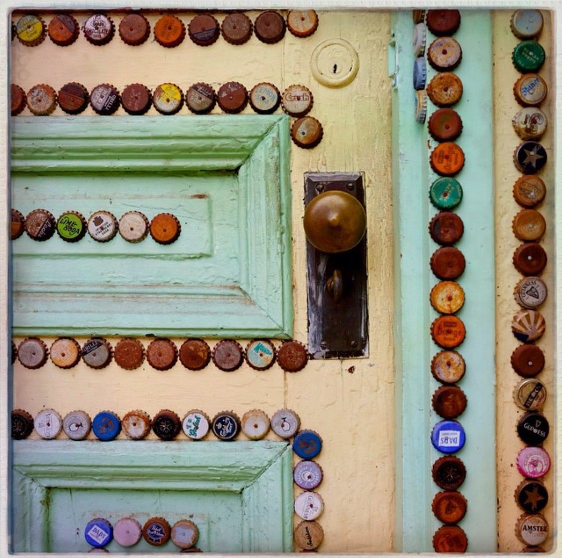 You know the bottle cap collection I have stashed in the Craft Room? This is going to be their new purpose- if I can find a door where they will shine or a dresser drawer. What do you think?