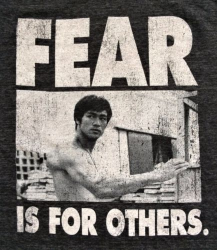 Bruce Lee Karate Kick Fear Is For Others Adult Tank Top