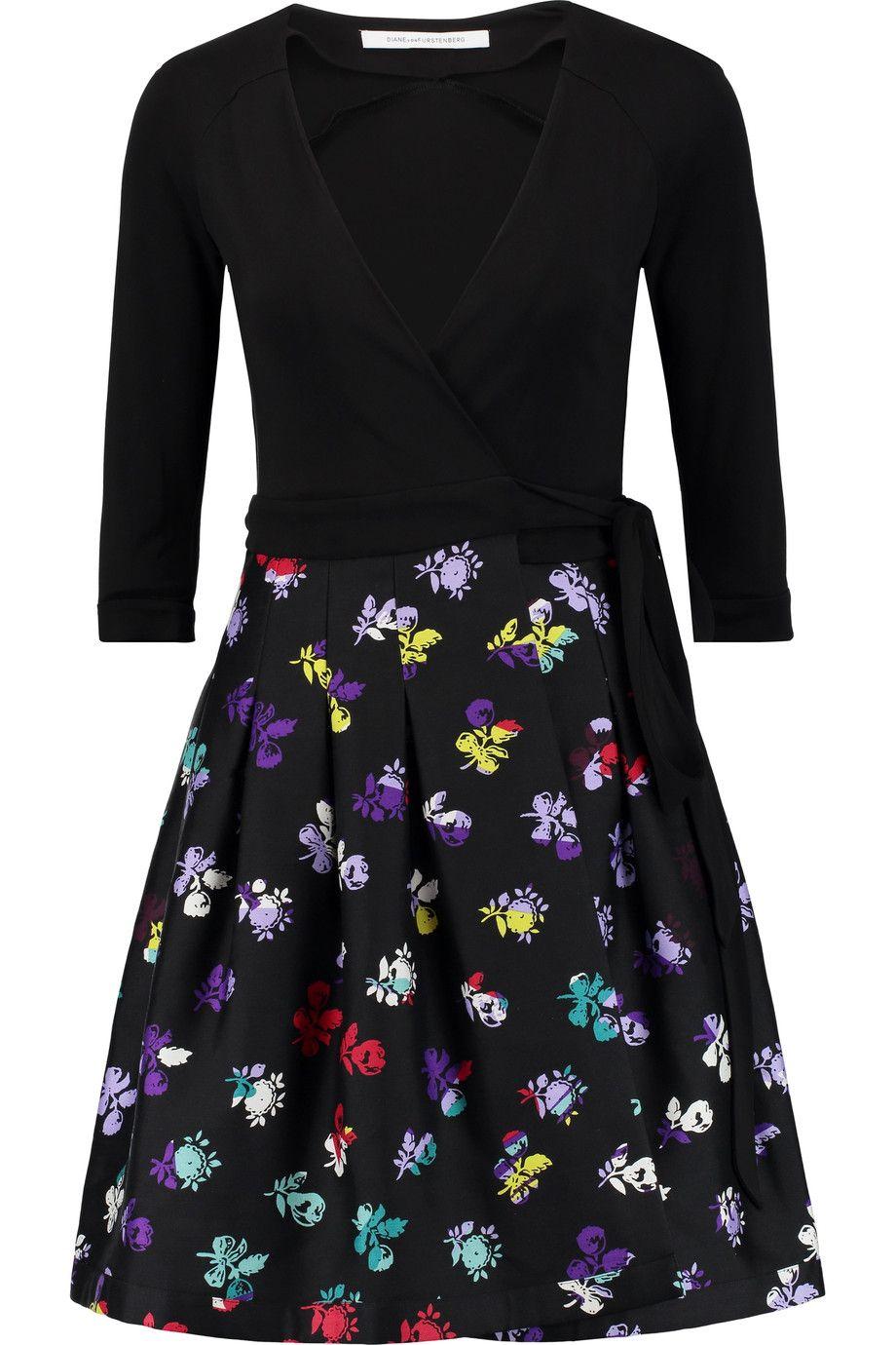 DIANE VON FURSTENBERG Jersey and floral-print wool-blend twill wrap dress. #dianevonfurstenberg #cloth #dress