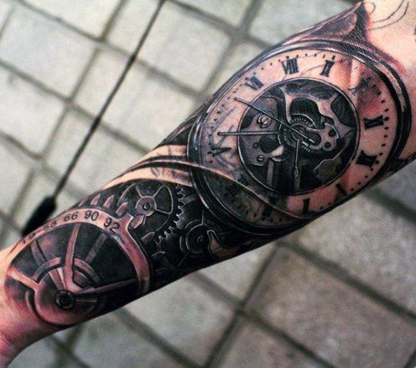 314031c4eeb4c Superb Mechanical Pocket Watch Tattoo On Forearms For Men jetzt neu! ->.
