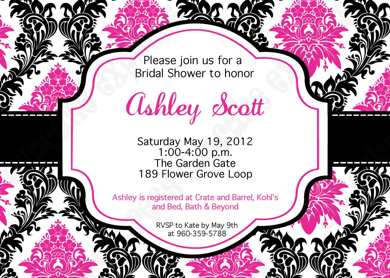 Pink And Black Wedding Invitations: Damask Hot Pink Black White PRINTABLE Bridal Shower 2