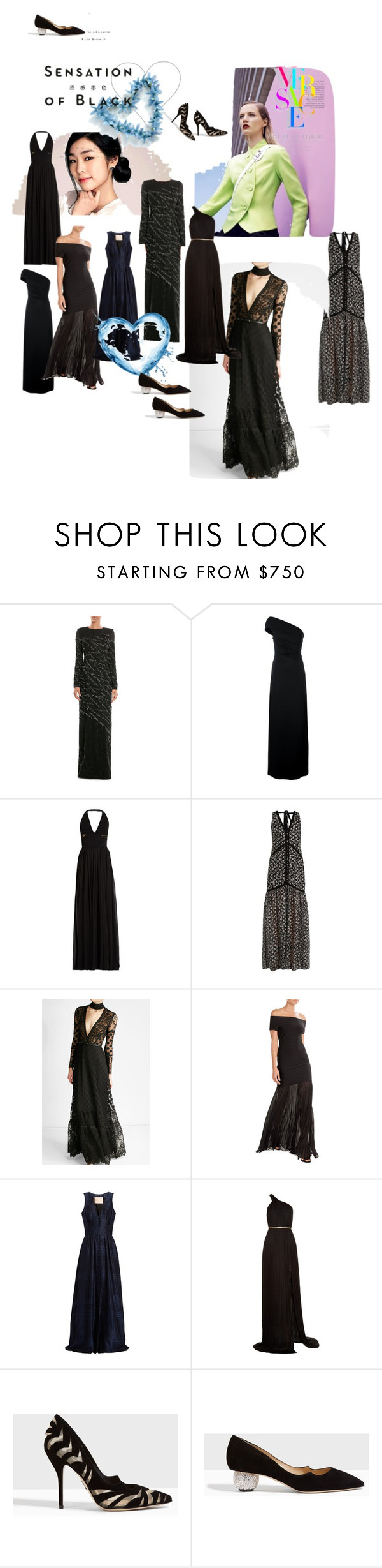 """Sensation of Black!"" by lalu-papa ❤ liked on Polyvore featuring Jenny Packham, Dsquared2, Elie Saab, Erdem, Hervé Léger, Brock Collection, Maria Lucia Hohan, Paul Andrew, Versace and Vision"