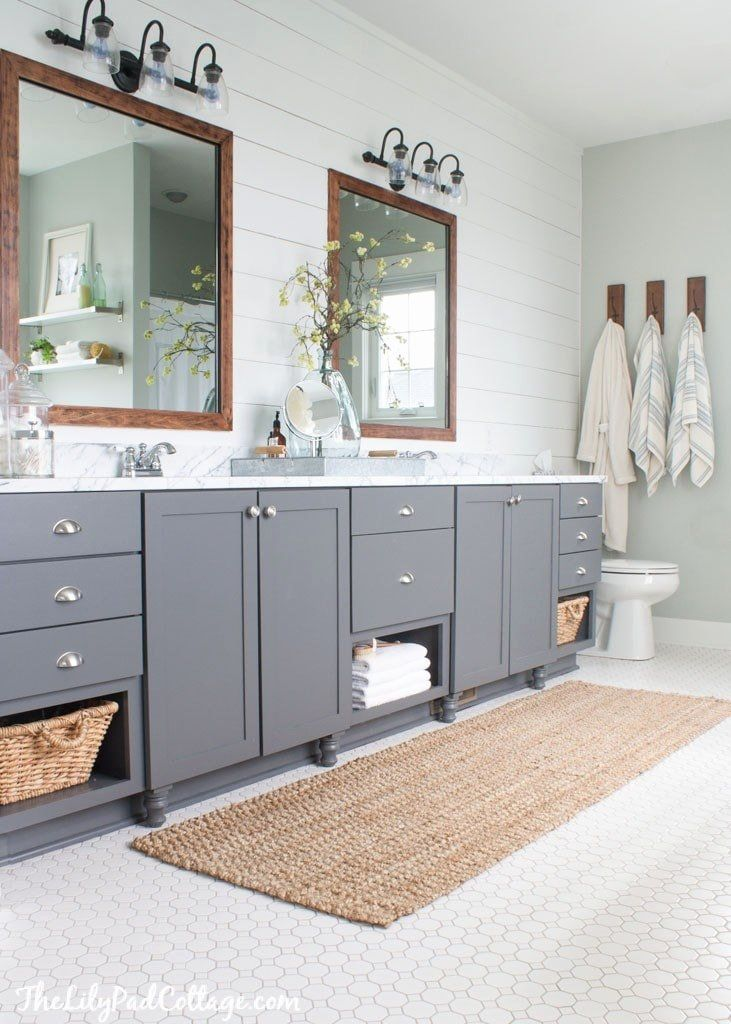 grey vanity bathroom ideas lovely lake house master bath on lake house interior color schemes id=61859