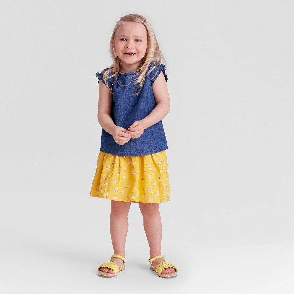 Baby Girls Almond Cream Top /& Aqua Bottom Set Genuine Kids from OshKosh 12M 18M