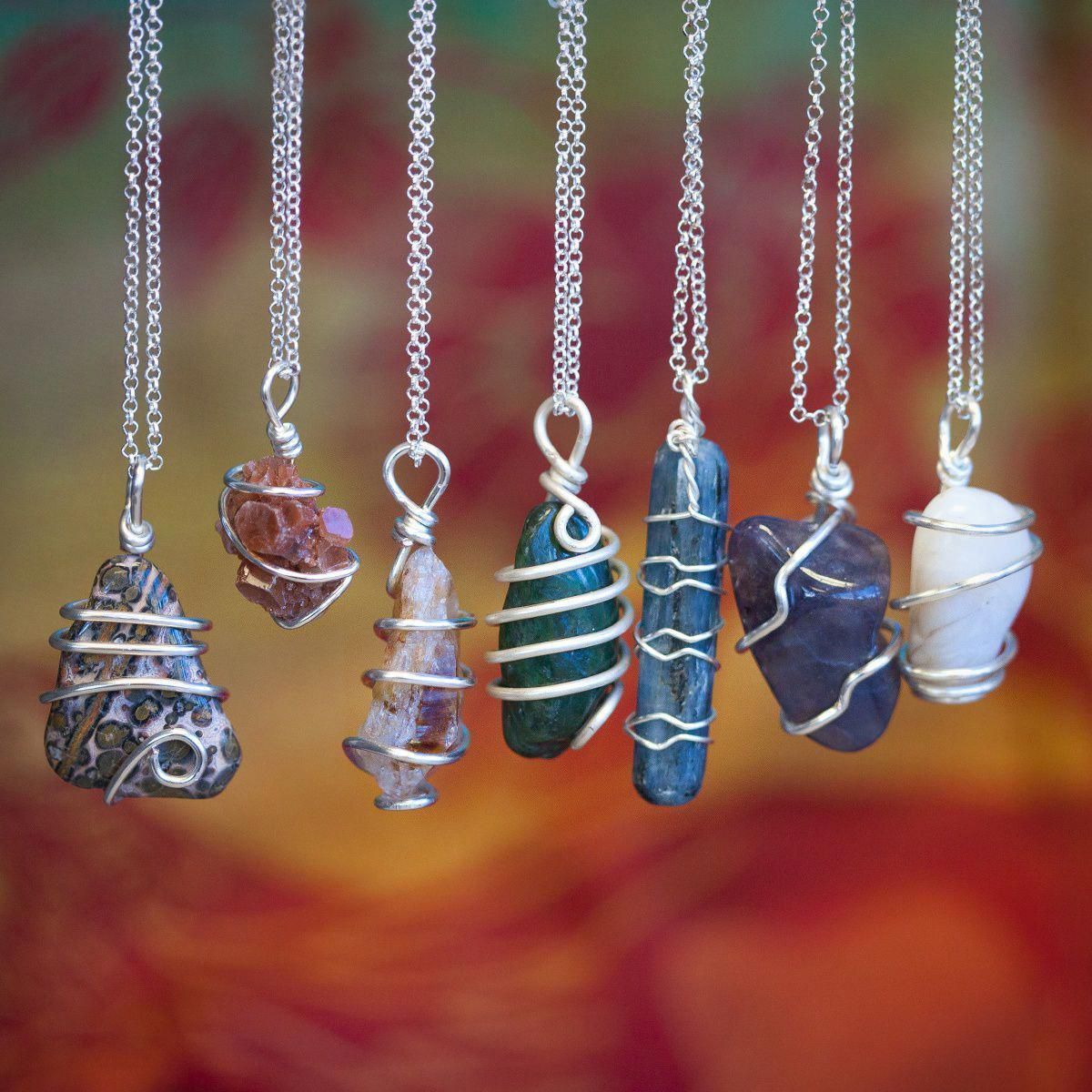 Photo of Chakra Stone Wire Wrap Necklaces for energetic balance