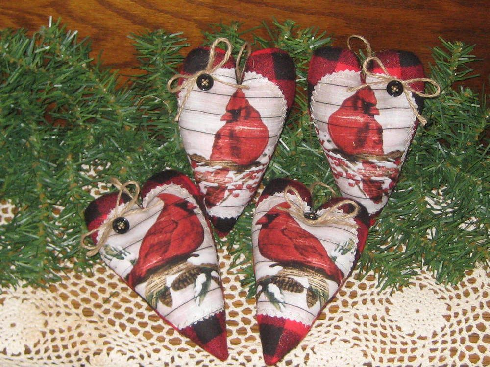 Details about 4 Buffalo Plaid fabric Cardinal Hearts Country