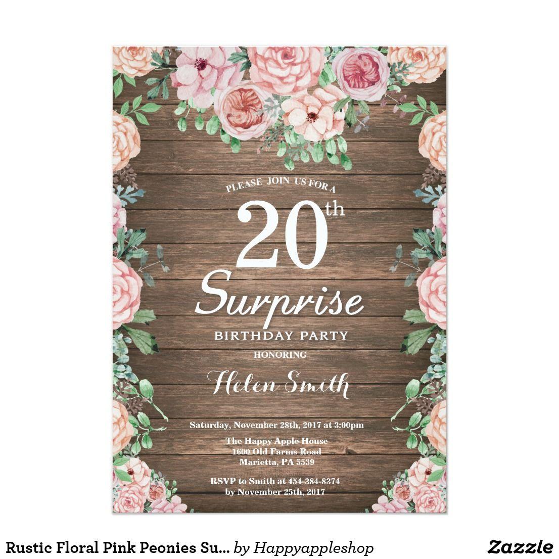 Rustic Floral Pink Peonies Surprise 20th Birthday