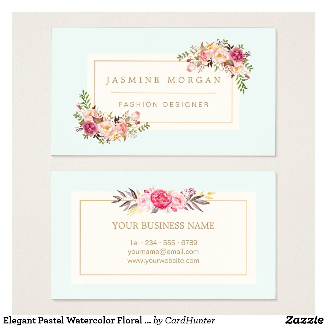 Elegant Pastel Watercolor Floral Boutique Decor Business Card ...