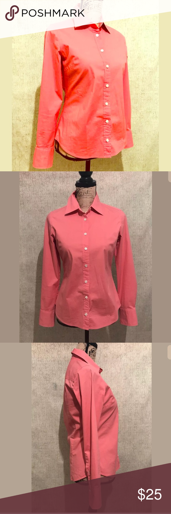J Crew Coral Pink Button Career Work Dress Shirt In 2018 My Posh