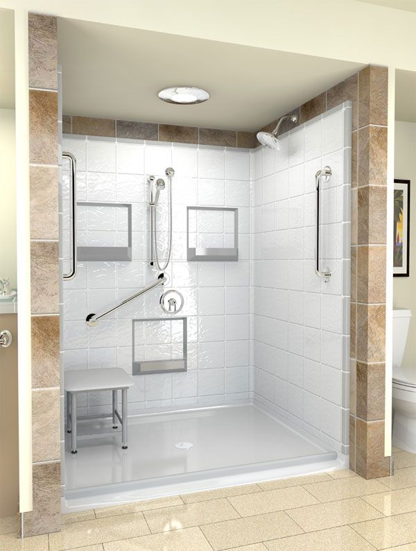 Wheelchair Accessible Shower With Bench Hand Controls And Head On Diffe Walls