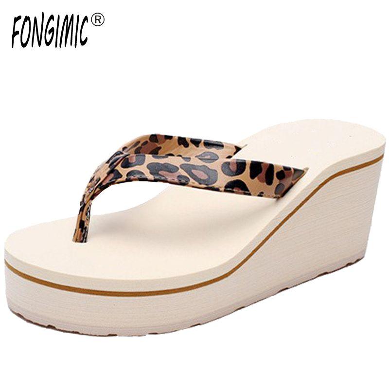 0498d4462c69f1 New summer Korea women breathable thick bottom flip flops ladies high heel  no-slip sandals