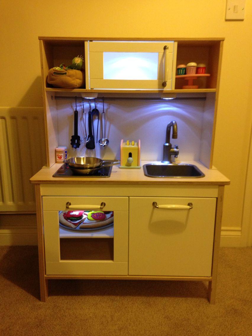 ikea duktig play kitchen customised with lindsdal handles and knobs lights and a backboard. Black Bedroom Furniture Sets. Home Design Ideas