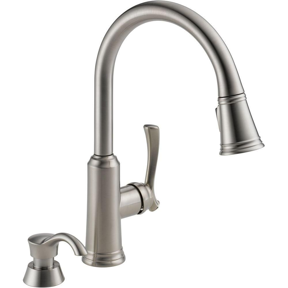 Delta Lakeview Single-Handle Pull-Down Sprayer Kitchen Faucet with ...