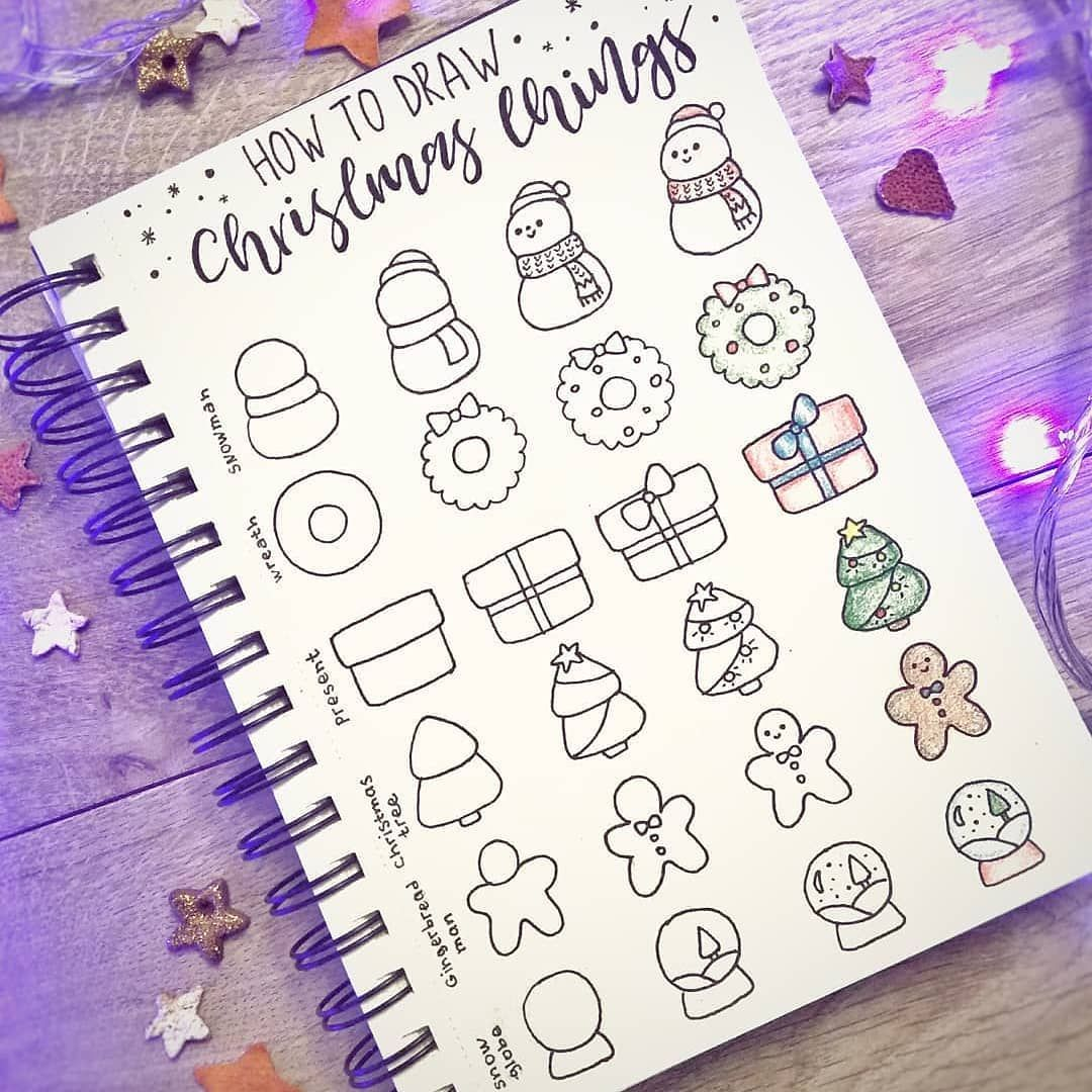 """📕📖Bullet Journal Collection📖📕 on Instagram: """"Hi guys! Are you ready for winter?❄️ Cute and simple Christmas doodles tutorial by @ginger.bullet.journal ☃️🎁 ☀️Use #bujocollector to be…"""""""